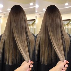 Brown and blond ombre long sleek straight hair. Light Brown Hair, Dark Hair, Hair Inspo, Hair Inspiration, Beige Blond, Brunette Hair, Balayage Hair Brunette Straight, Hair Highlights, Gorgeous Hair