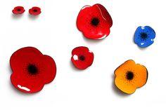 Poppy Enamel Brooches - I'm totally loving this stunning enamel range from jewellery designer, Megan Perkins.