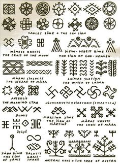 Symbols and signs from latvian folk lore mythology note the swastika fire cross has been corrupted do not use Fake Tattoo, Tattoo Motive, Tattoo Symbols, Henna Tattoo Meanings, Glyphs Symbols, Small Tattoo, Henna Patterns, Zentangle Patterns, Ethnic Patterns