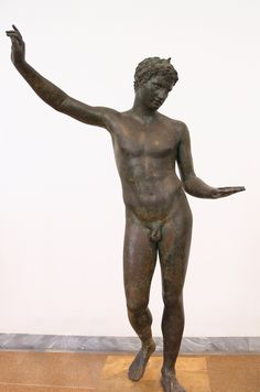 """The Marathon Boy"", life size bronze sculpture found in a shipwreck at the bottom of the Aegean Sea."