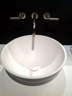 """Rifra's models Smooth, Box, Bowl and the lamp """"Adam"""" made with HI-MACS®. #SaloneDelMobile #Milan"""