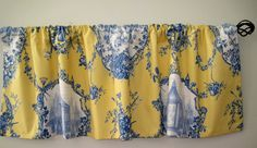 52x16 Valance. Braemore toile Yellow and Blue by CidaliaDesigns