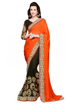 Georgette Party Wear Designer Saree in Orange and Black Colour.It comes with matching Raw Silk Blouse.It is crafted with Embroidery,Lace Work Design...