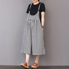 Women Checked Sleeveless Adjustable Strap Wide Leg Jumpsuit with Pockets Georgia, Overalls Women, Korea, Pants Pattern, Plaid Pattern, Black Plaid, Ghana, Fashion Outfits, Fashion Trends