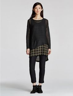 Scoop Neck Sleeveless Tunic in Buffalo Check Printed Silk
