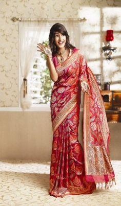 Orange and mejantha colour bridal benaras saree by RMKV Indian Bridal Lehenga, Indian Sarees, Indian Blouse, Traditional Sarees, Traditional Dresses, Traditional Wedding, Phulkari Saree, Banaras Sarees, Banarasi Lehenga