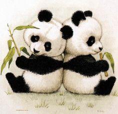 oso panda Art Drawings For Kids, Cute Animal Drawings, Colorful Drawings, Cute Drawings, Fuchs Illustration, Baby Animals, Cute Animals, Panda Painting, Panda Drawing