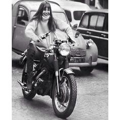 """Histoire de Melody Nelson by Serge Gainsbourg  is the soundtrack of the day  And heres Jane Birkin on a Triumph Daytona  Pic from @janebirkindaily…"""