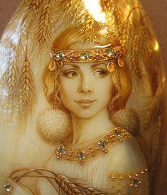 """Купить Кулон """"Кострома"""" - лаковая миниатюра, ручная роспись, авторская роспись, украшения с перламутром"""