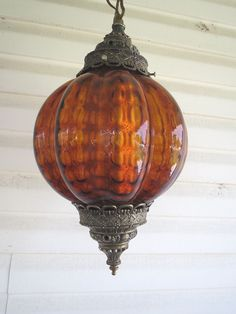 VINTAGE AMBER PUFFY GLASS HANGING SWAG LAMP