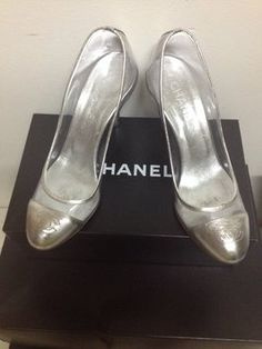Chanel Silver And Clear Pumps $343