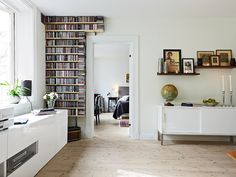 Delikatessen - love this floor to cieling Cd storage - so hard to make a CD collection not look like a huge mess