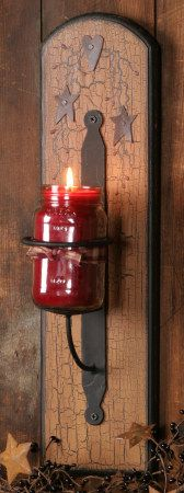 primitive heart and stars wall jar candle holder *Very Nice.only I will attach candle holder & stars to piece of old barn wood. Candle Jars, Mason Jars, Candle Holders, Candle Gifts, Country Crafts, Country Decor, Country Living, Primitive Crafts, Country Primitive