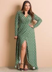 Vestido Longo Transpassado (Estampado) Plus Size