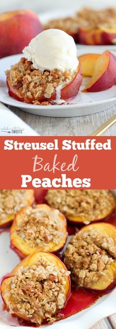 Stuffed Baked Peaches - Fresh peaches filled with a brown sugar cinnamon pecan streusel and baked until juicy and bubbly. Serve warm topped with vanilla ice cream! Fresh Peach Recipes, Sweet Recipes, Yummy Treats, Sweet Treats, Yummy Food, Yummy Yummy, Delicious Deserts, Delish, Fruit Recipes
