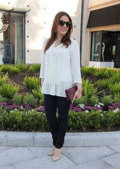 Spring Outfit - ruffle blouse and dark denim