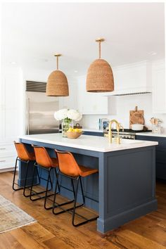Blue kitchen cabinets, leather bar stools and seagrass pendant lights, chic kitchen design kitchen accessories McGee & Co. Stuff for Your Kitchen Kitchen Cabinetry, Kitchen Reno, Home Decor Kitchen, New Kitchen, Home Kitchens, Kitchen Remodel, Kitchen Dining, Soapstone Kitchen, Kitchen Worktop