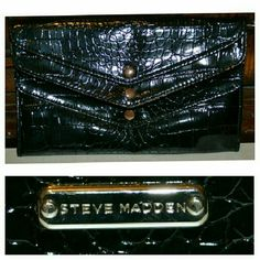 Black steve madden clutch Smoke free home! price is firm!  In excellent condition ! Never used!   Super cute medium size Black snake print Steve madden clutch . Measurement's: L: 8 1/2 in  H: 5 1/2 in  W: 1 1/2 in   This item will be shipped in a water proof poly mailer.   I ship Monday - Saturday!  If you have any questions please ask! (: Steve Madden Bags Clutches & Wristlets