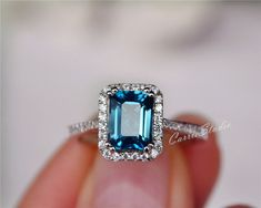 Natural London Blue Topaz Ring Emerald Cut Topaz Engagement Ring Wedding Ring Sterling Silver Ring Anniversary Ring Birthday Present