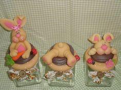 Lindo trio de potinhos <br>Uma otima opção de presente de páscoa.