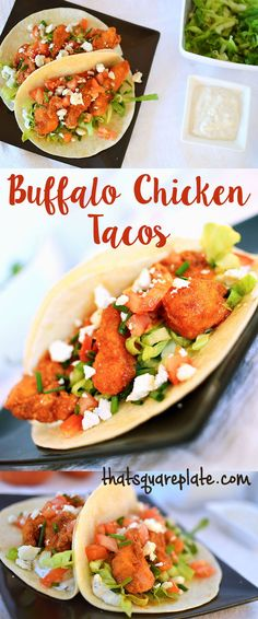 These chicken tacos combine two of my favorite things ever -- tacos & fried buffalo chicken! Your taste buds will thank you!! thatsquareplate.com
