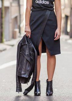 Adidas t-shirt, Josh Goot skirt, Windsor Smith boots, Proenza. Sporty Chic, Love Fashion, Fashion Outfits, Womens Fashion, Style Fashion, Adidas Originals, Dressy Skirts, Wrap Skirts, Couture