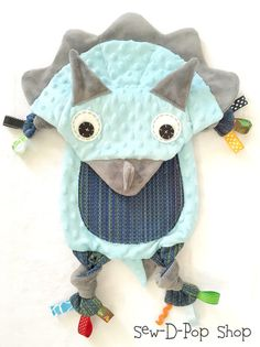 Triceratops Baby Blanket Wrap Scrap Lovey Tag Pacifier Toy Buddy