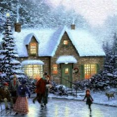 Skater Pond Thomas Kinkade winter art for sale at Toperfect gallery. Buy the Skater Pond Thomas Kinkade winter oil painting in Factory Price. Merry Christmas Gif, Christmas Scenery, Winter Scenery, Christmas Pictures, Christmas Artwork, Christmas Tree, Christmas Gifts, Magical Christmas, Vintage Christmas