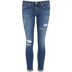 Designer Clothes, Shoes & Bags for Women Super Skinny Ripped Jeans, Womens Ripped Jeans, Rolled Up Jeans, Blue Ripped Jeans, Ag Jeans, Mid Rise Skinny Jeans, Distressed Skinny Jeans, Jeans Pants, Destroyed Jeans