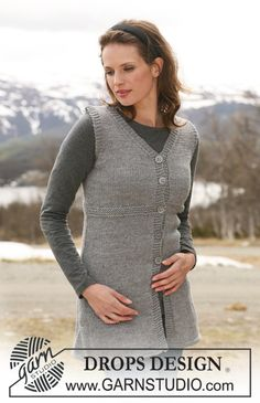 "Long knitted DROPS sleeveless top in ""Alaska"". Size S-XXXL. - Free pattern by DROPS Design"