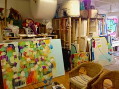 Claire Desjardins' messy studio... Messy in a good way!