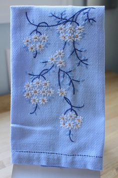 Vintage Blue Fingertip Towel with Hand Embroidered by CoffeeKlatch