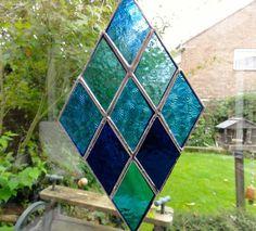 Diamond Stained Glass Suncatcher - Blue - Folksy