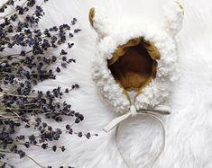 Cuddle Llama Bonnet / Mustard Flannel lined / Super soft / Fall & Winter Bonnet / Baby Gift / Bear Hat / Animal Hat / Animal Bonnet / Lamb Bonnet Crazy Heart, Animal Hats, Baby Bonnets, Handmade Items, Handmade Gifts, Cuddle, Amazing Art, Baby Gifts, Mustard