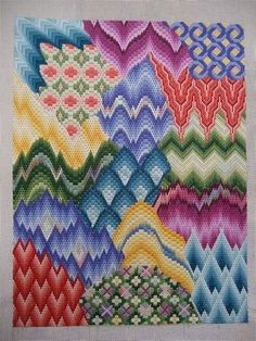 Saw a similar piece partially done. and loved it. I think Ive found my way back to the source - Needlepoint Now Magazine - should have known! - Crafting TipsNeedlepoint patterns - I would do a mixture of tapestry, X-stitch and longstitchDisses Get St Motifs Bargello, Broderie Bargello, Bargello Patterns, Bargello Needlepoint, Bargello Quilts, Needlepoint Stitches, Needlepoint Canvases, Needlework, Needlepoint Pillows
