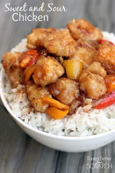 Sweet and Sour Chicken recipe from http://TastesBetterFromScratch.com #maincourse #recipe #dinner #recipes #healthy