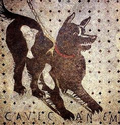 Pompeii. 'Beware of the Dog' Cave Canem mosaic on entrance hall floor: House of the Tragic Poet