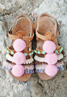 """Pom Pom """"Carousel"""" Sandals / Turquoise Resin Stones / Cotton Lace / Baby Kids Gladiator Leather Cute Sandals / Slingback Strap Sandals For similar items, please visit:"""