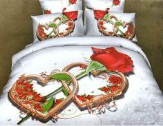 pościel 3D serce i róża