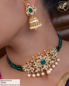 Beautiful one gram gold choker with pearl hangings. Choker with green color beads. Indian Jewelry Earrings, Beaded Jewelry, Temple Jewellery, Pearl Jewelry, Pendant Jewelry, Diamond Jewelry, Antique Jewelry, Gold Earrings, Gold Jewelry