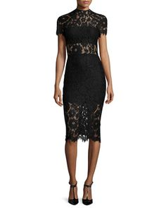Leona Short-Sleeve Lace Sheath Dress, Black by Alexis at Neiman Marcus.