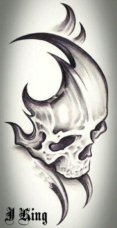 Skull Tattoo Design Tattoo Alien Old School Dark Art Drawings, Pencil Art Drawings, Art Drawings Sketches, Cool Drawings, Tribal Drawings, Skull Drawings, Skull Tattoo Design, Skull Tattoos, Tribal Tattoos