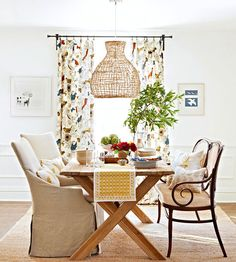Mix-and-match your dining room charis for a cool way to decorate your place. More apartment ideas: http://www.bhg.com/rooms/dining-room/furniture/mix-match-dining-room-chairs/?socsrc=bhgpin101713mixandmatchchairs&page=8