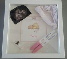 Shadowbox - Ikea fotolijst met eerste herinneringen van zwangerschap geboorte