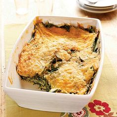 """Spinach-Cheese Bake - """"You can assemble the spinach and cheese casserole in less than 10 minutes by using pre-shredded cheeses. Vegetarian Casserole, Vegetable Casserole, Casserole Recipes, Vegetarian Recipes, Cooking Recipes, Healthy Recipes, Spinach Casserole, Cooking Tips, Breakfast Casserole"""