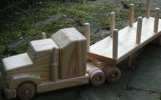 Wooden Toy Truck  log hauler with sleeper cab Grooms Cake