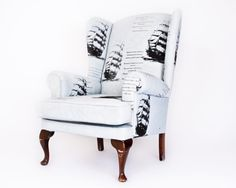 this bespoke armchair was professionally reupholstered, the fabric was hand dyed and printed. Blue Armchair, Wood Construction, Deep Blue, Retro Fashion, Love Seat, Hardwood, Couch, Bespoke, Fabric
