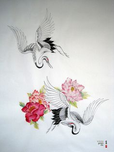 crane tattoo study 3rd generation by yoso tattoo (www.yoso.eu), via Flickr