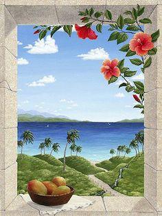 dreams of he-by-Dina Farris Mural Art, Wall Murals, Window Mural, Creation Photo, Hawaiian Art, Caribbean Art, Tropical Art, Learn To Paint, Flower Art
