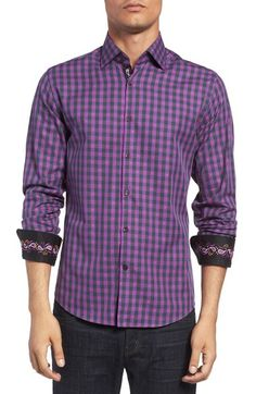 Stone Rose Trim Fit Embroidered Trim Dobby Gingham Sport Shirt available at #Nordstrom